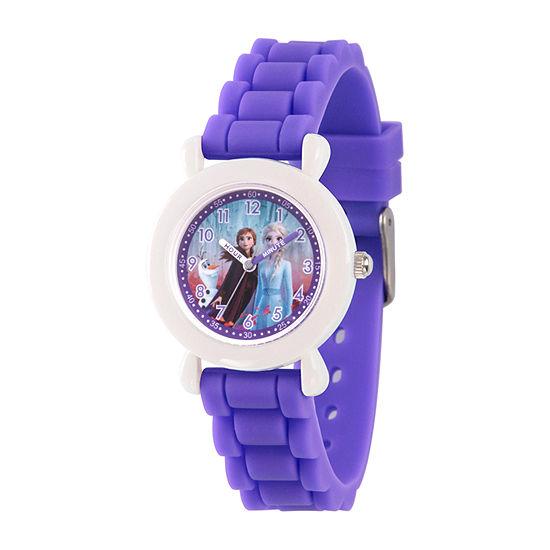 Disney Frozen Girls Purple Strap Watch-Wds000818