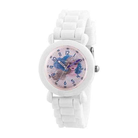 Disney Girls White Strap Watch-Wds000822