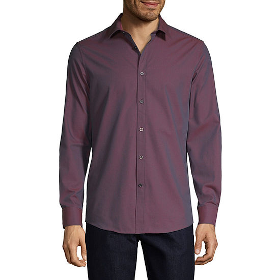 Perry Ellis Mens Long Sleeve Button-Front Shirt Slim