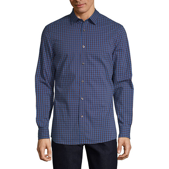 Perry Ellis Slim Mens Long Sleeve Checked Button-Front Shirt