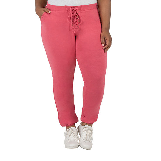 Poetic Justice Womens High Rise Over Belly Cinched Drawstring Pants - Plus