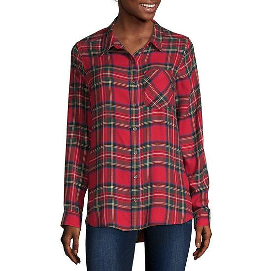 Vanilla Star-Juniors Womens Long Sleeve Regular Fit Button-Front Shirt