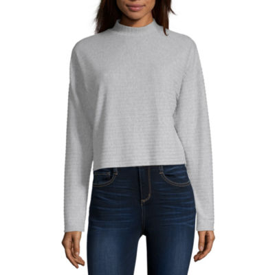 Arizona Womens Long Sleeve Mock Neck Top-Juniors
