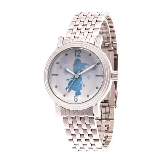 Disney Olaf Womens Silver Tone Bracelet Watch-Wds000836