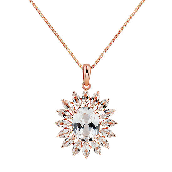 Womens Lab Created White Sapphire 10K Rose Gold Pendant Necklace