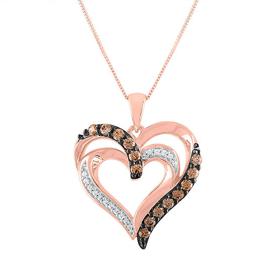 Womens 1/3 CT. T.W. Genuine Champagne Diamond 10K Rose Gold Heart Pendant Necklace
