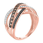 Womens 1/2 CT. T.W. Genuine Champagne Diamond 10K Rose Gold Crossover Cocktail Ring