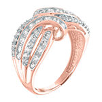 Womens 1 CT. T.W. Genuine Diamond 10K Rose Gold Crossover Cocktail Ring