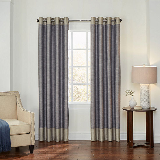 Eclipse Monty Color Block Energy Saving 100% Blackout Grommet-Top Single Curtain Panel