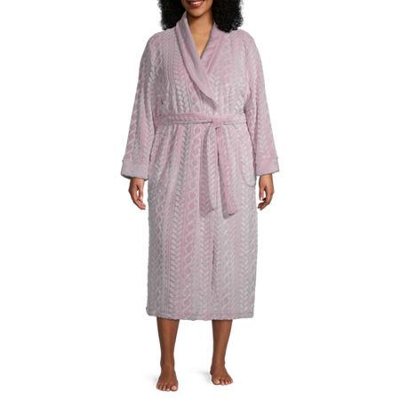 Jaclyn Womens Plus Long Sleeve Plush Robe, 1x , Pink