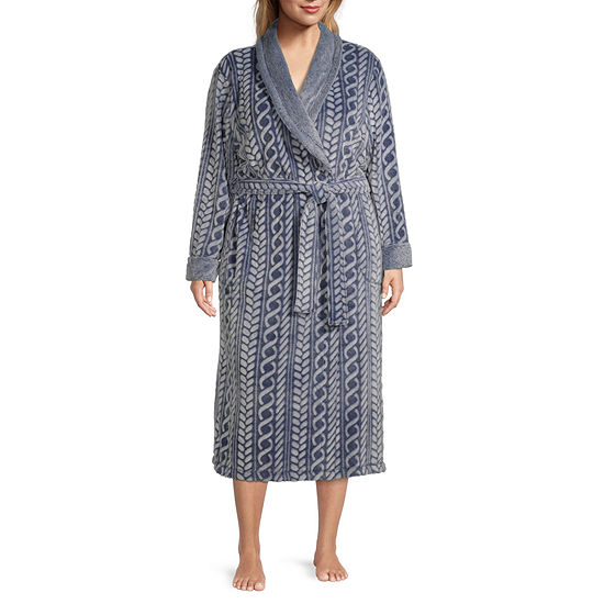 Jaclyn Womens Plus Long Sleeve Plush Robe
