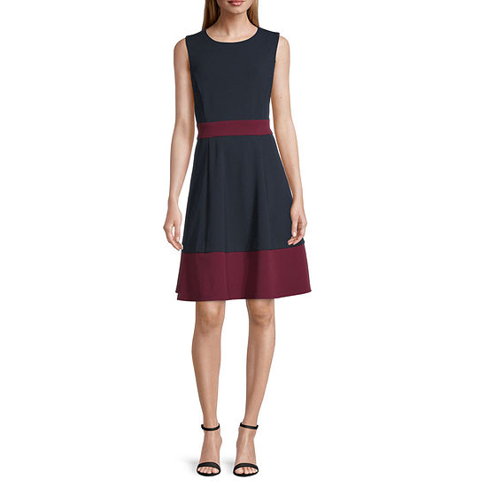 Studio 1 Sleeveless Colorblock Fit & Flare Dress