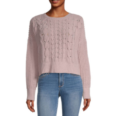 Arizona Juniors Womens Round Neck Long Sleeve Sweater