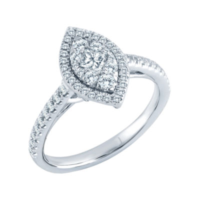 5/8 CT. T.W. Diamond 14K White Gold Marquise Ring