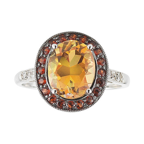 Color-Enhanced Orange Topaz, Garnet & White Sapphire Ring