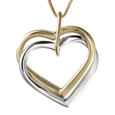 Two-Tone 14K Gold Interlocking Hearts Pendant Necklace