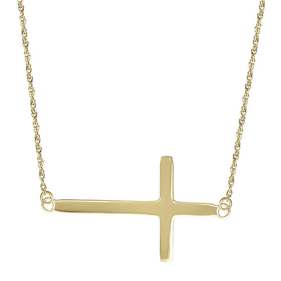 14K Yellow Gold Horizontal Cross Pendant Necklace