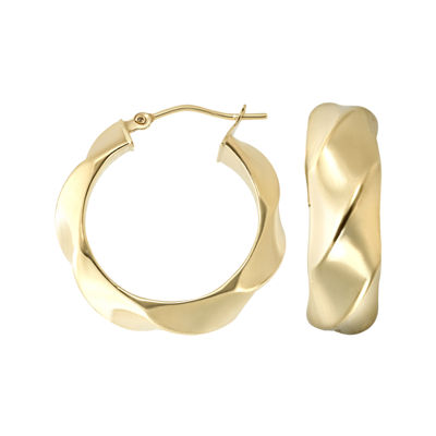 Made in Italy 14K Gold Twist Hoop Earrings