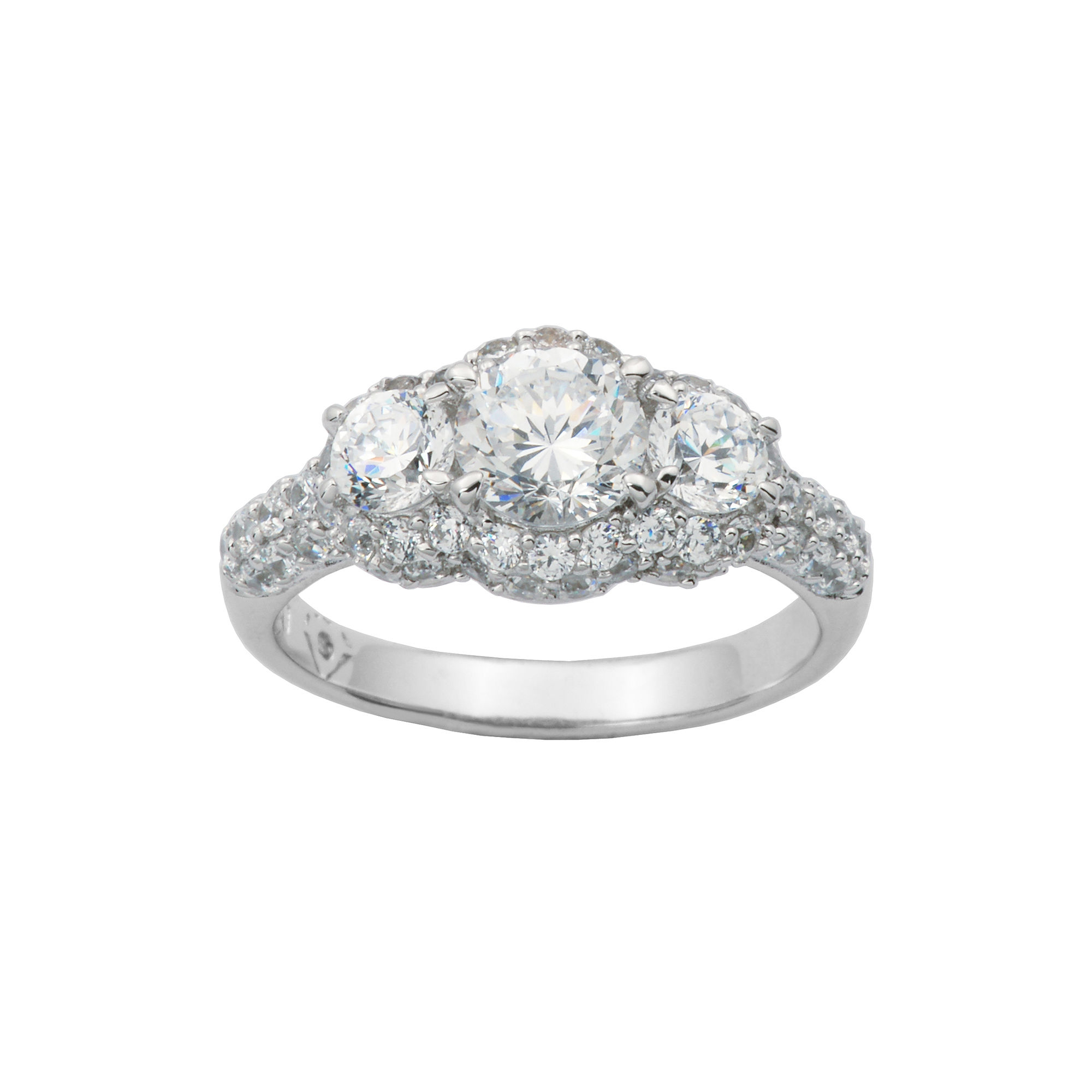 100 Facets by DiamonArt Sterling Silver 3-Stone Cubic Zirconia Cocktail Ring