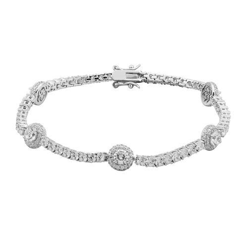 100 Facets by DiamonArt® Cubic Zirconia Line & Oval Disc Bracelet