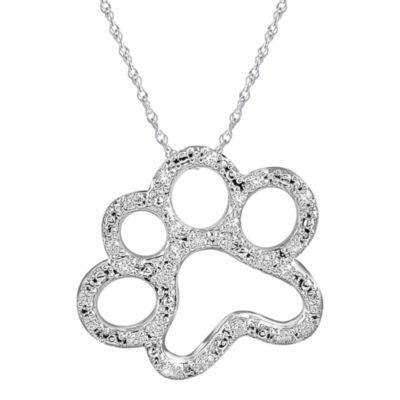 ASPCA® Tender Voices™ 1/10 CT. T.W. Diamond Paw Print Pendant Necklace