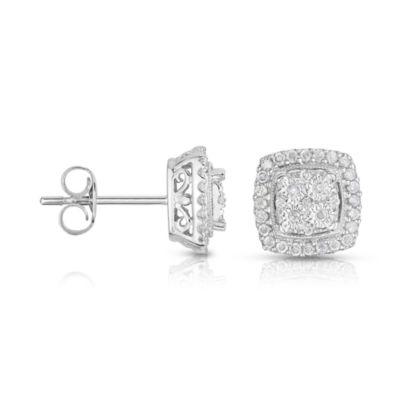 TruMiracle® 1/4 CT. T.W. Diamond 10K White Gold Square Stud Earrings