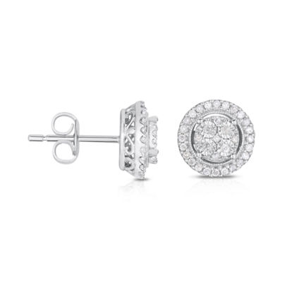 Fine Jewelry TruMiracle 1/4 CT. T.W. Diamond 10K White Gold Stud Earrings cCb7isw