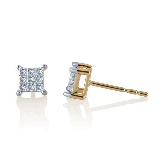 1/4 CT. T.W. 10K Yellow Gold Over Sterling Silver Earrings
