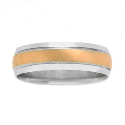 Womens 10K Two-Tone Gold Polished & Brushed Wedding Band