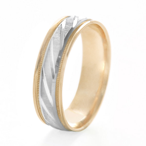 Womens 10K Two-Tone Gold Polished & Brushed Laser-Cut Wedding Band