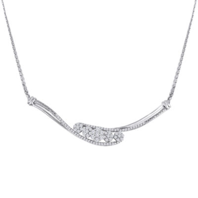 diamond blossom 1/2 CT. T.W. Diamond Sterling Silver Cluster Necklace