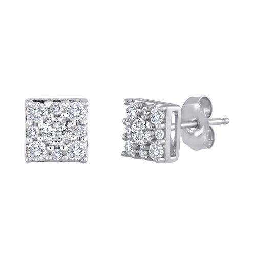 diamond blossom 1/2 CT. T.W. Diamond Sterling Silver Cluster Earrings