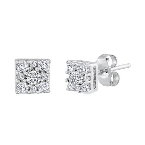 diamond blossom 1/4 CT. T.W. Diamond Sterling Silver Cluster Earrings