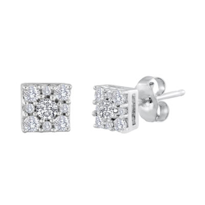 diamond blossom 1/4 CT. T.W. Diamond Sterling Silver Cluster Earrings