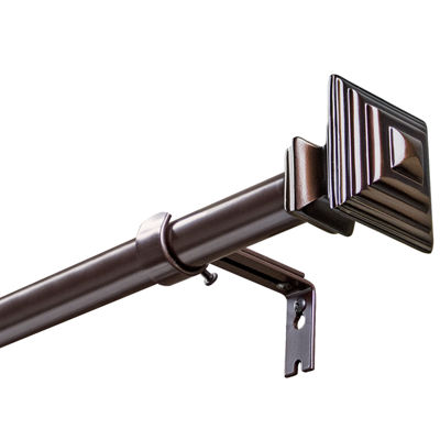 "Bali® Sienna Bronze-Tone Square 1"" Adjustable Curtain Rod"