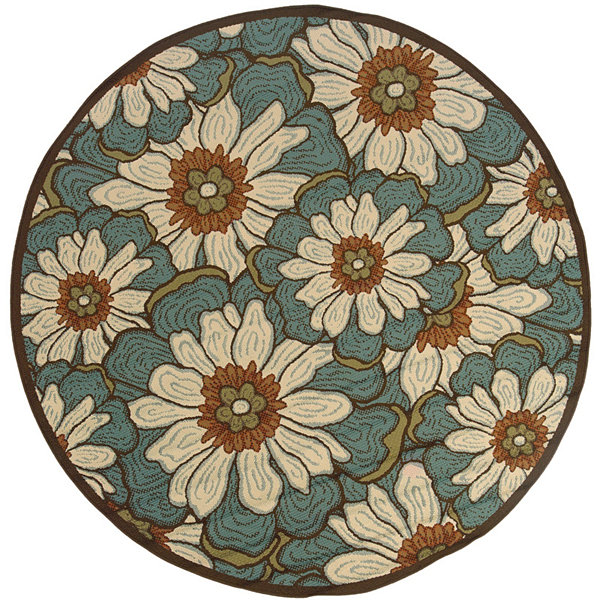 Covington Home Martinique Blossoms Indoor/OutdoorRound Rug