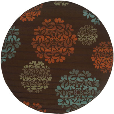 Covington Home Martinique Nosegay Indoor/Outdoor Round Rug
