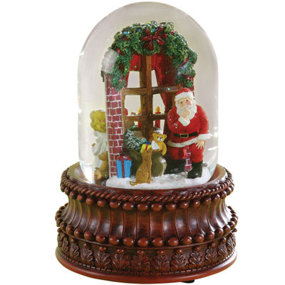 Roman Santa In Window Snow Globe