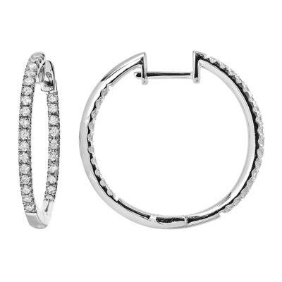 LIMITED QUANTITIES 1/2 CT. T.W. Diamond Hoop Earrings