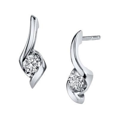 Sirena® 1/4 CT. T.W. Round Diamond 14K White Gold Earrings