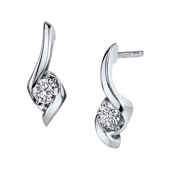 Sirena® 1/4 CT. T.W. Round Diamond 14K White Gold Earrings