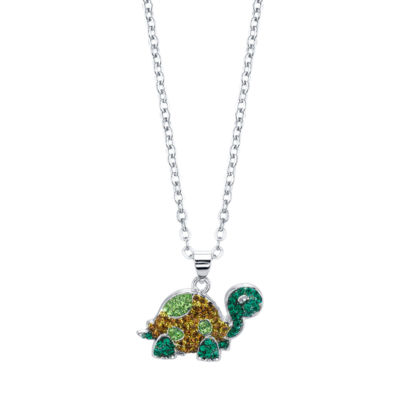 Sparkle Allure Womens Green Silver Over Brass Pendant Necklace