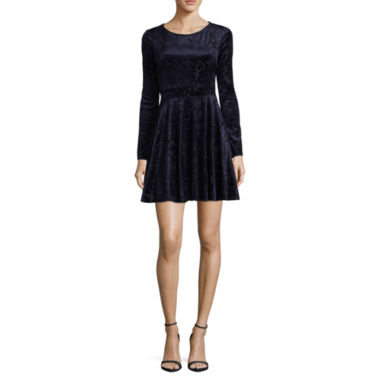 City Triangle Long Sleeve A-Line Dress-Juniors