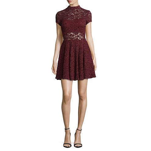 City Triangle Short Sleeve Applique A-Line Dress-Juniors