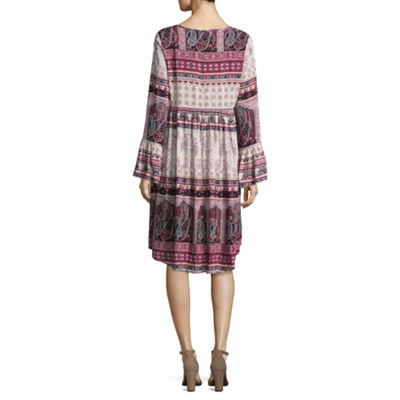 Unity World Wear Long Sleeve Paisley Shift Dress
