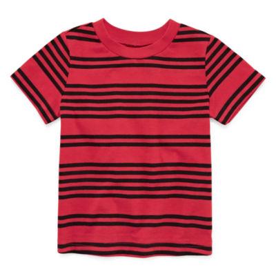 Okie Dokie Stripe Short Sleeve T-Shirt-Baby Boy NB-24M