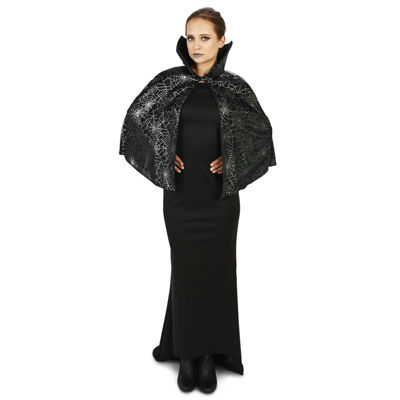 Black Foil Print Spiderweb Adult Capelet