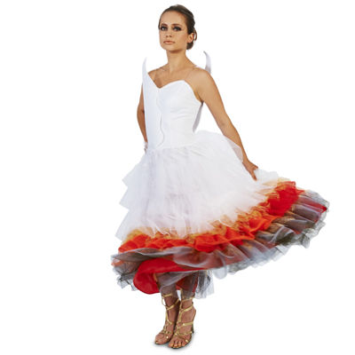 Flaming Winged Wedding Dress Adult Costume