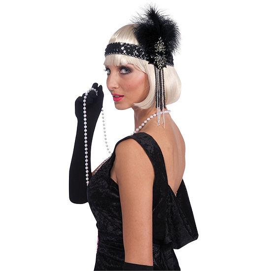Flapper Deluxe Headband Black Silver