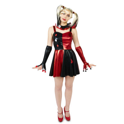 Harlequin Adult Costume Dress with Wig